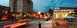 long exposure high contrast image of main street downtown bozeman montana - ami sayer real estate