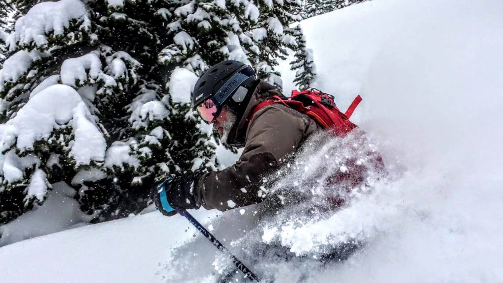 action shot of skier at bridger bowl ski resort bozeman montana