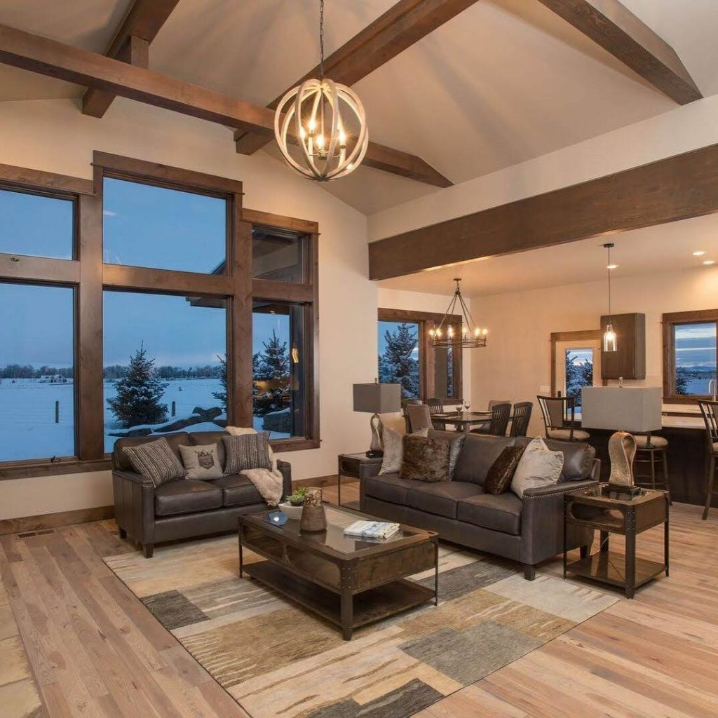 open living room staged for sale in bozeman
